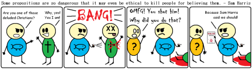 sam harris condones murder (cartoon by blamethe1st)