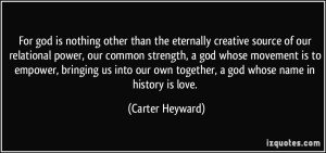Carter Heyward quote on God as Love