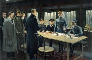 Armistice (the Germans surrender at the end of World War I)