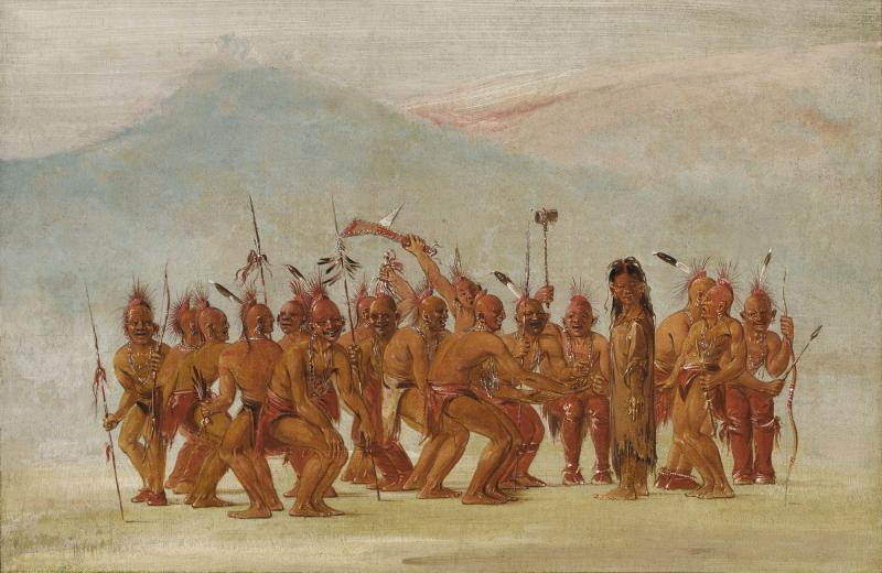 George Catlin, Dance to the Berdash, 1835-1837, oil on canvas, Smithsonian American Art Museum, Gift of Mrs. Joseph Harrison, Jr., 1985.66.442