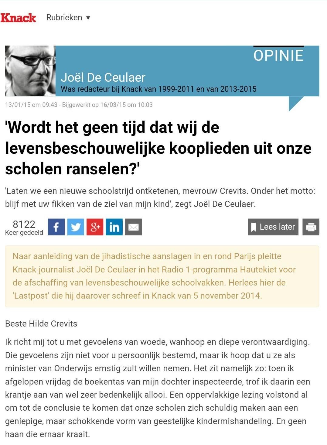 Joël De Ceulaer opnieuw pamflet Godsdienst met of zonder LEF