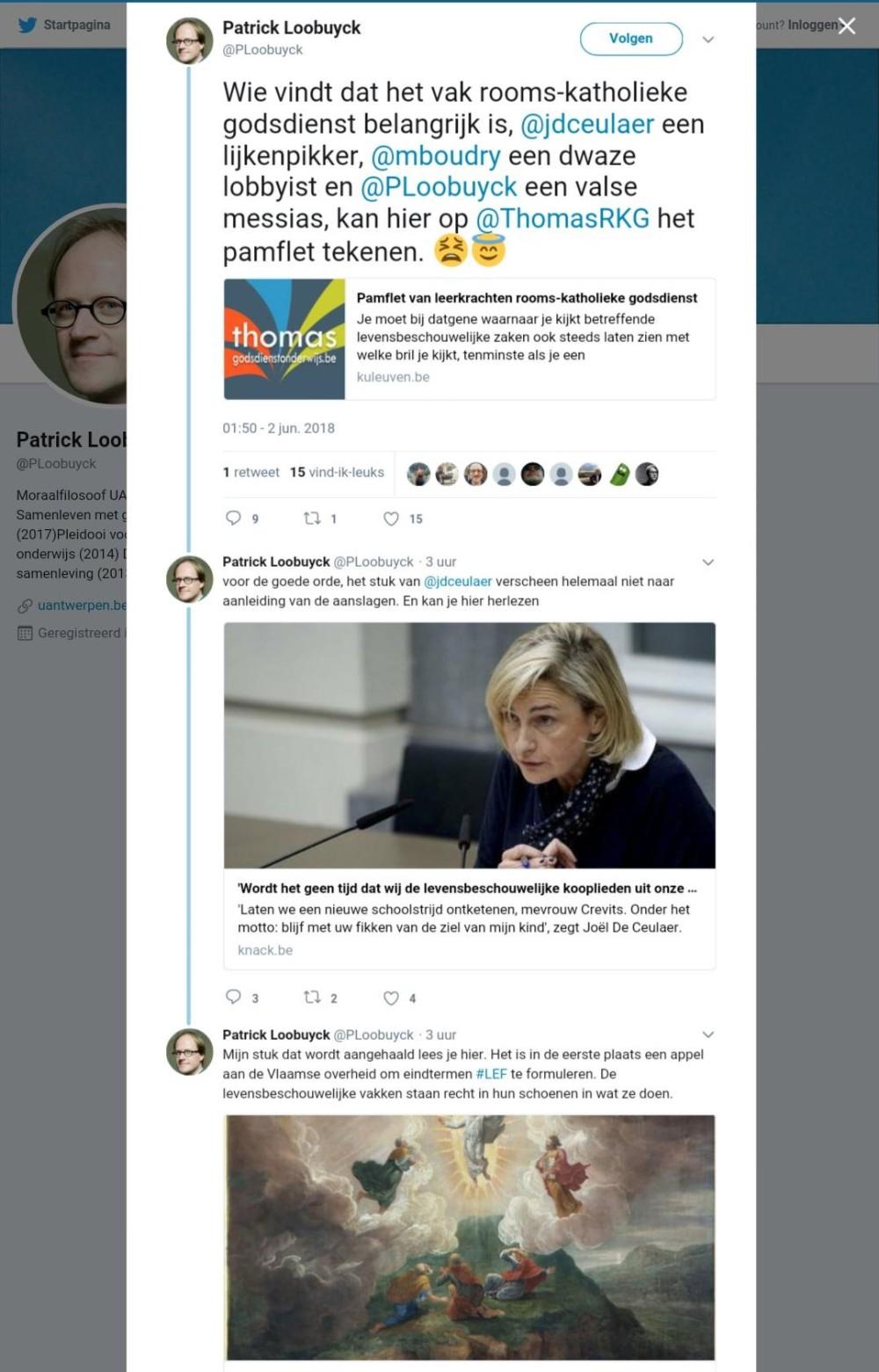 Patrick Loobuyck twitter over pamflet Godsdienst met of zonder LEF