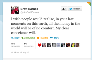 Brett Barnes Tweet on Wade Robson Lies