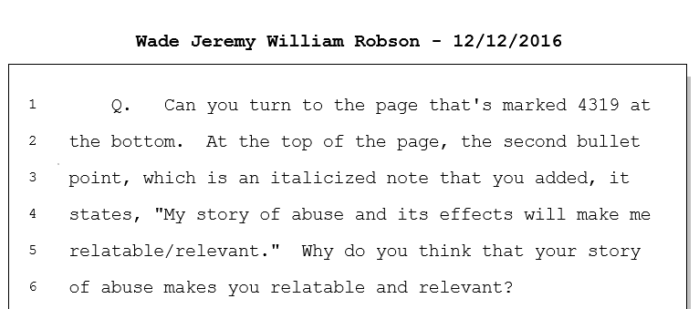 Wade Robson's lawsuit quote about being relatable and relevant