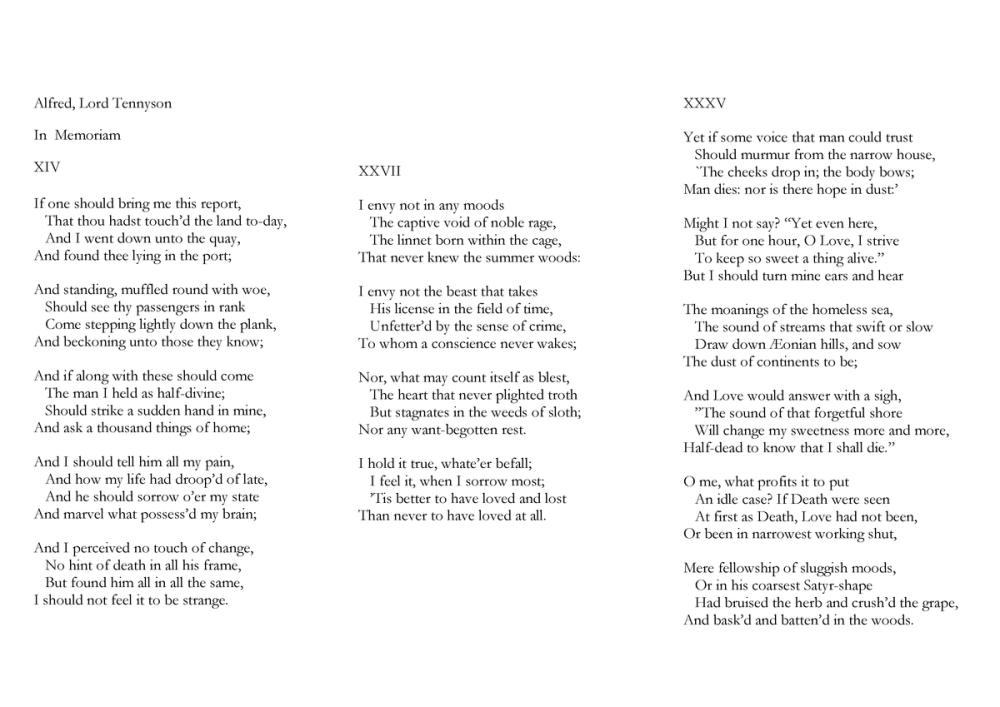 Alfred, Lord Tennyson In Memoriam XIV_XXVII_XXXV